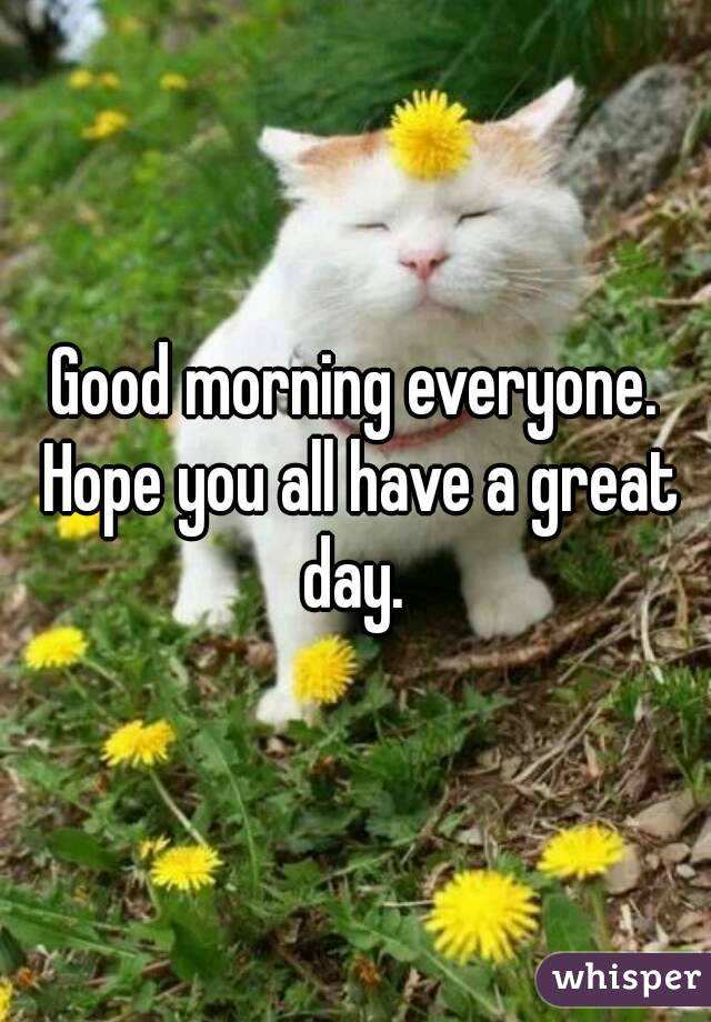 Vokalis Good Morning Everyone : Good morning everyone hope you all have a great day