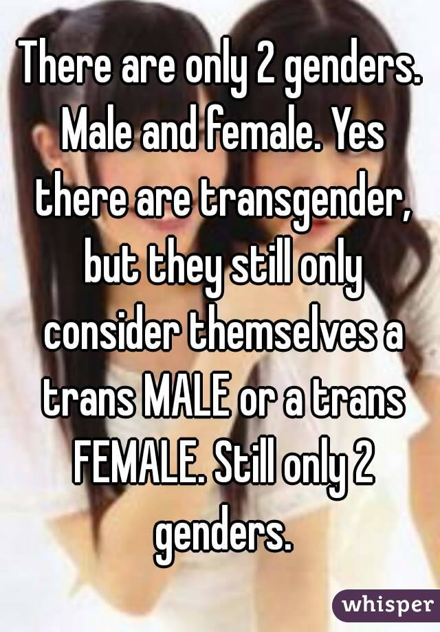 there are only 2 genders male and female yes there are transgender