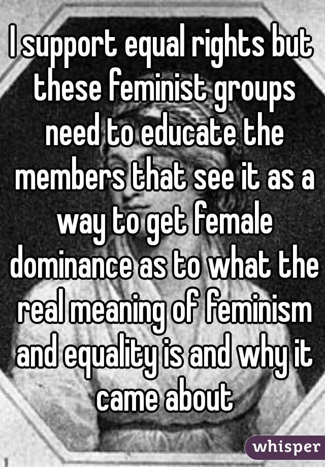 I support equal rights but these feminist groups need to educate the members that see it as a way to get female dominance as to what the real meaning of feminism and equality is and why it came about