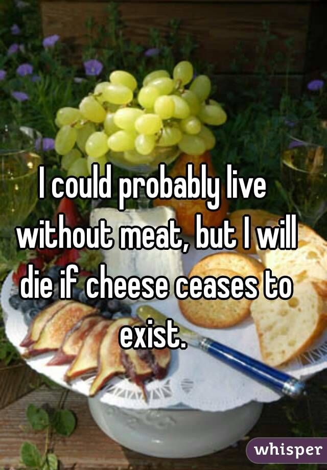 I could probably live without meat, but I will die if cheese ceases to exist.