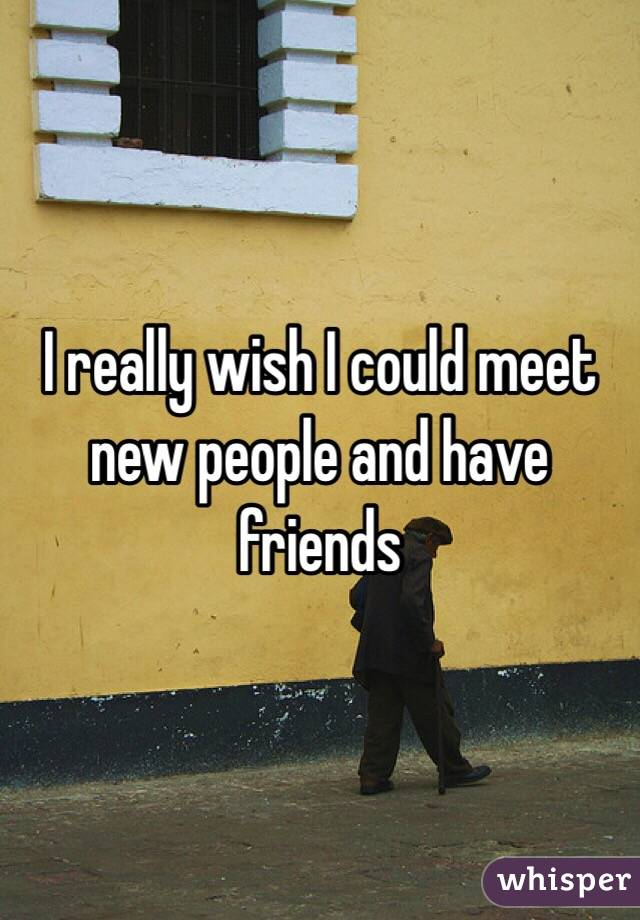 I really wish I could meet new people and have friends