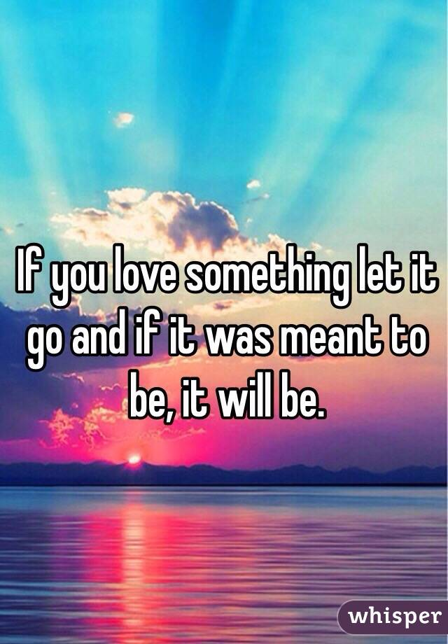 If you love something let it go and if it was meant to be, it will be.