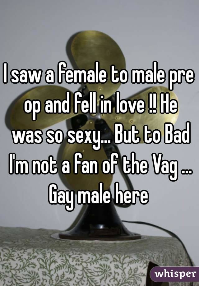 I saw a female to male pre op and fell in love !! He was so sexy... But to Bad I'm not a fan of the Vag ... Gay male here