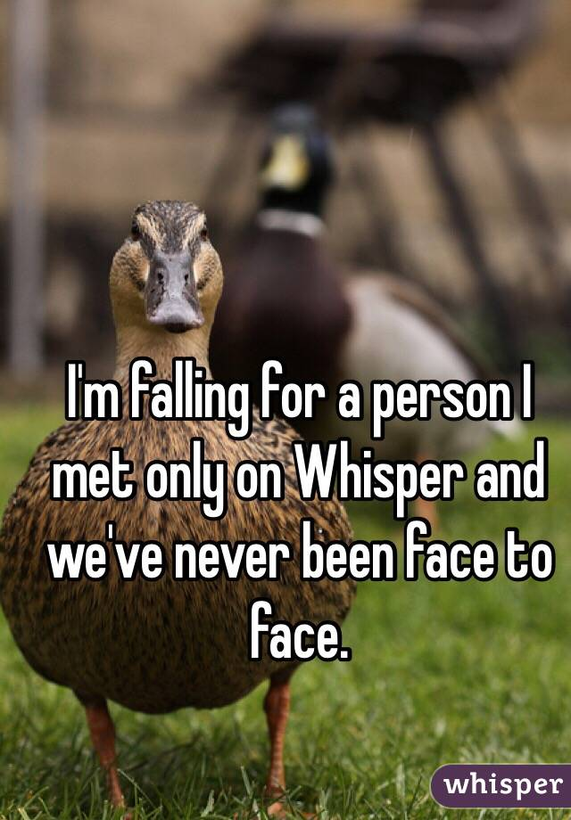 I'm falling for a person I met only on Whisper and we've never been face to face.