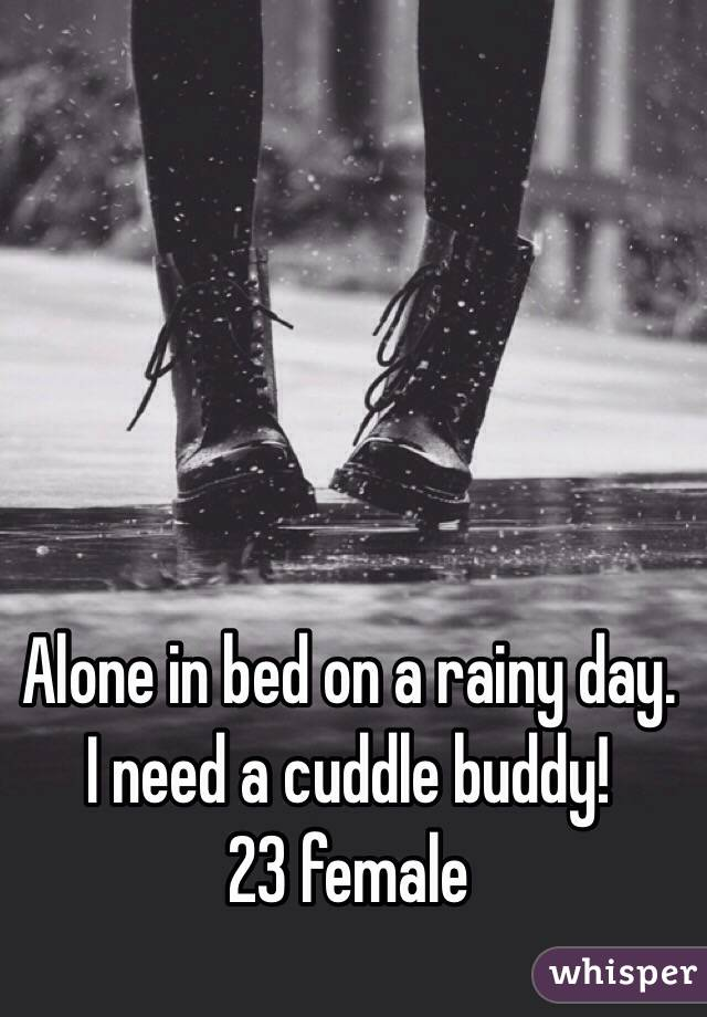 Alone in bed on a rainy day. I need a cuddle buddy! 23 female