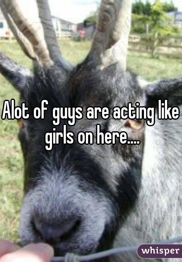 Alot of guys are acting like girls on here....