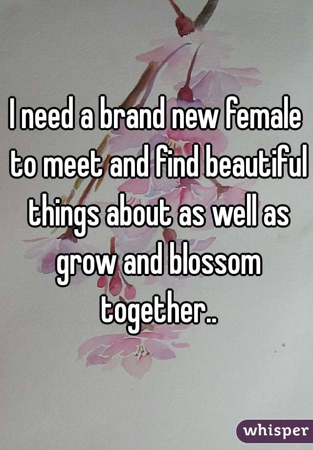 I need a brand new female to meet and find beautiful things about as well as grow and blossom together..