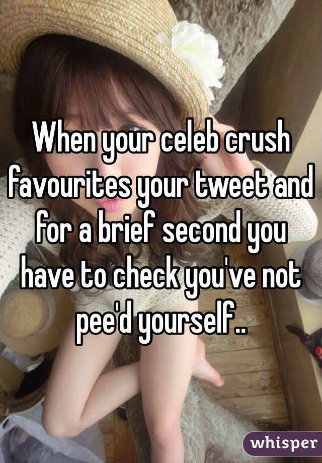 When your celeb crush favourites your tweet and for a brief second you have to check you've not pee'd yourself..
