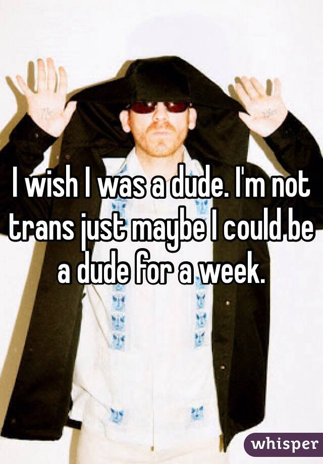 I wish I was a dude. I'm not trans just maybe I could be a dude for a week.