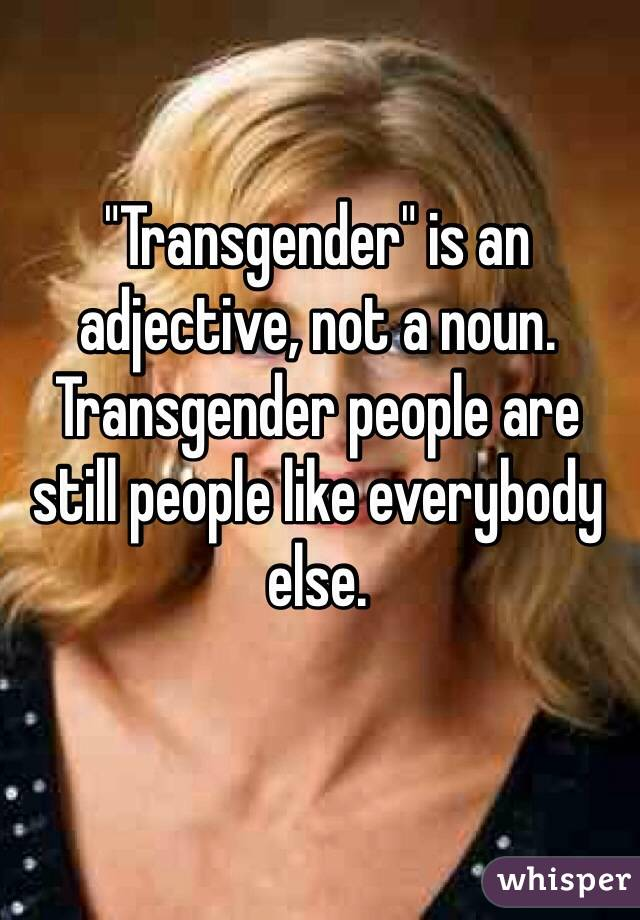 """""""Transgender"""" is an adjective, not a noun. Transgender people are still people like everybody else."""