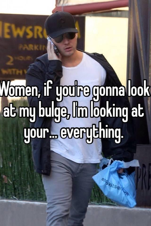 Women looking at bulge
