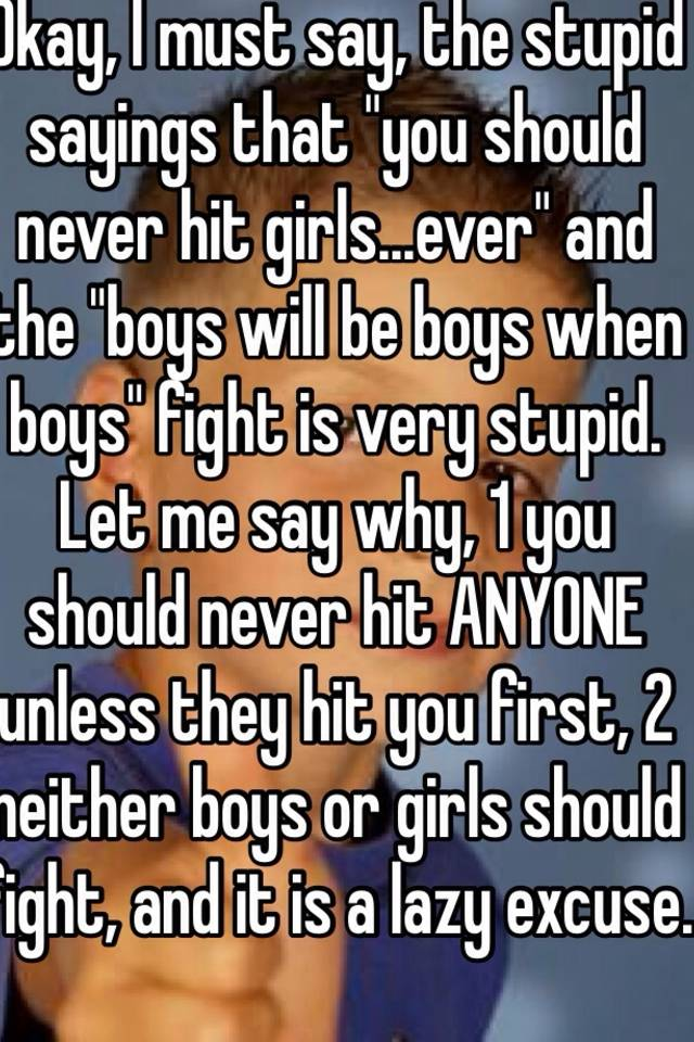 why cant boys hit girls
