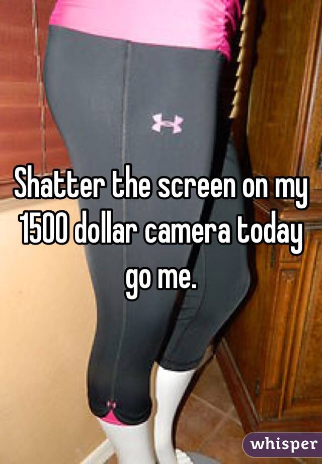 Shatter the screen on my 1500 dollar camera today go me.