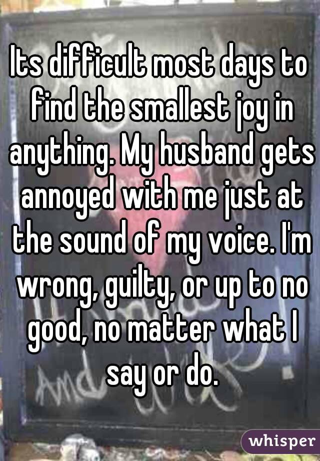 Its difficult most days to find the smallest joy in anything. My husband gets annoyed with me just at the sound of my voice. I'm wrong, guilty, or up to no good, no matter what I say or do.