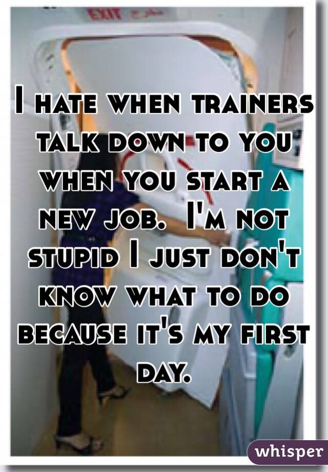 I hate when trainers talk down to you when you start a new job.  I'm not stupid I just don't know what to do because it's my first day.