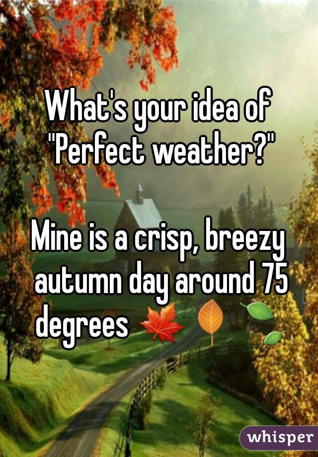 """What's your idea of """"Perfect weather?""""  Mine is a crisp, breezy autumn day around 75 degrees 🍁🍂🍃"""