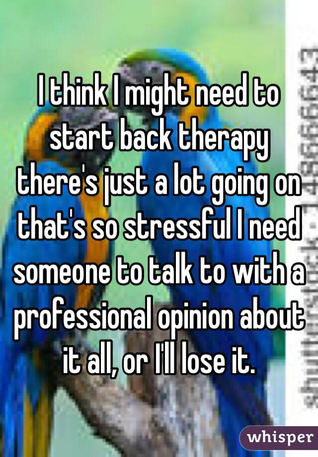 I think I might need to start back therapy there's just a lot going on that's so stressful I need someone to talk to with a professional opinion about it all, or I'll lose it.