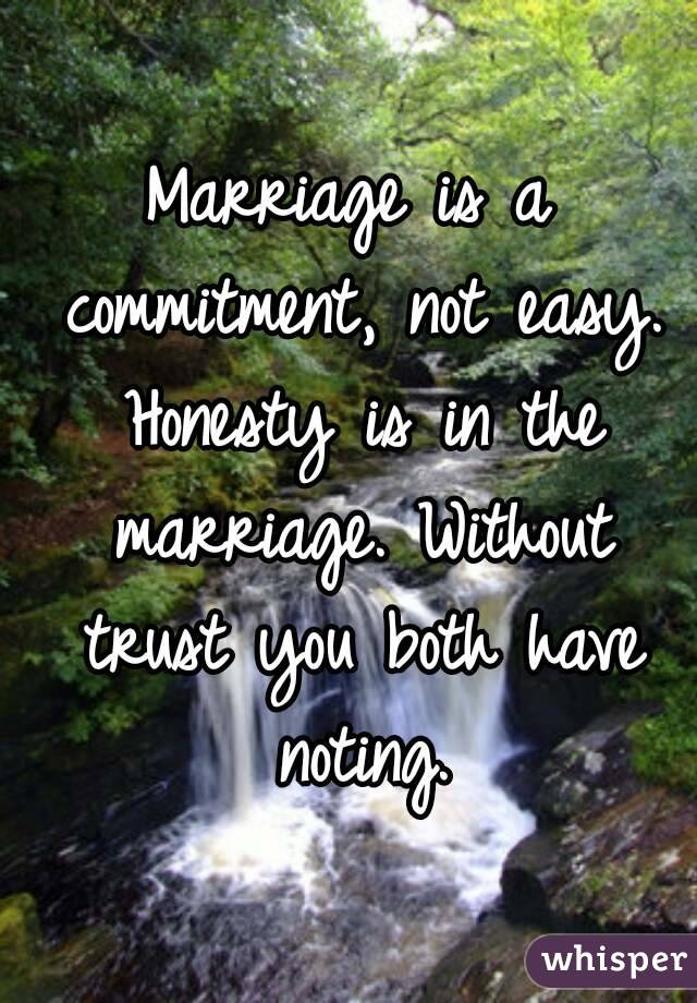Marriage is a commitment, not easy. Honesty is in the ...