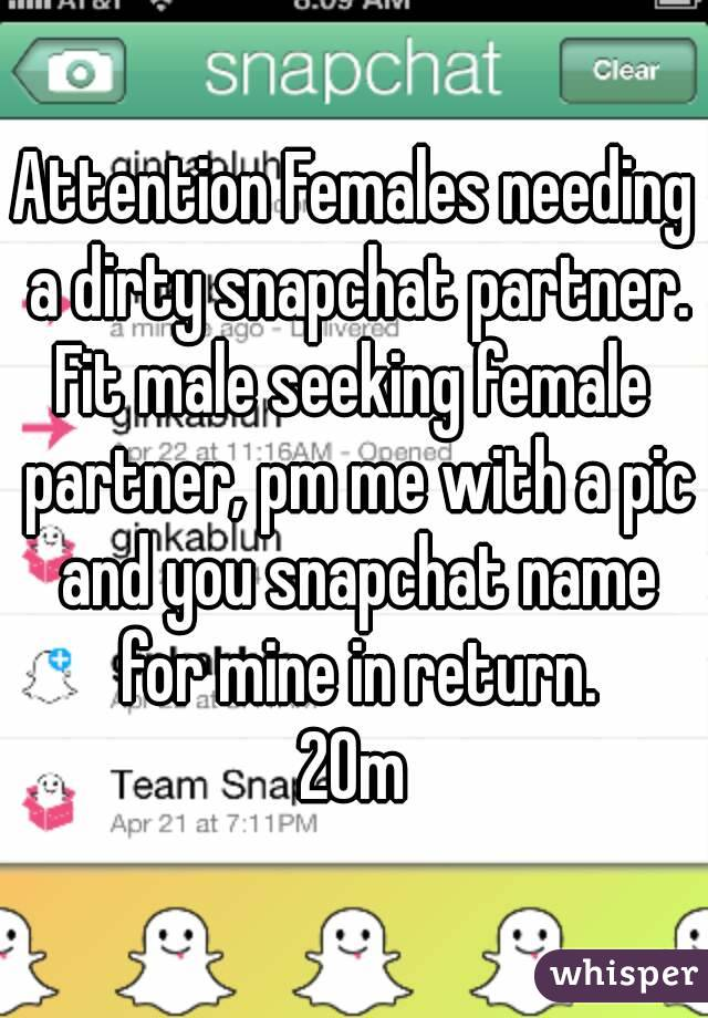 Attention Females Needing A Dirty Snapchat Partner Fit Male Seeking Female Partner