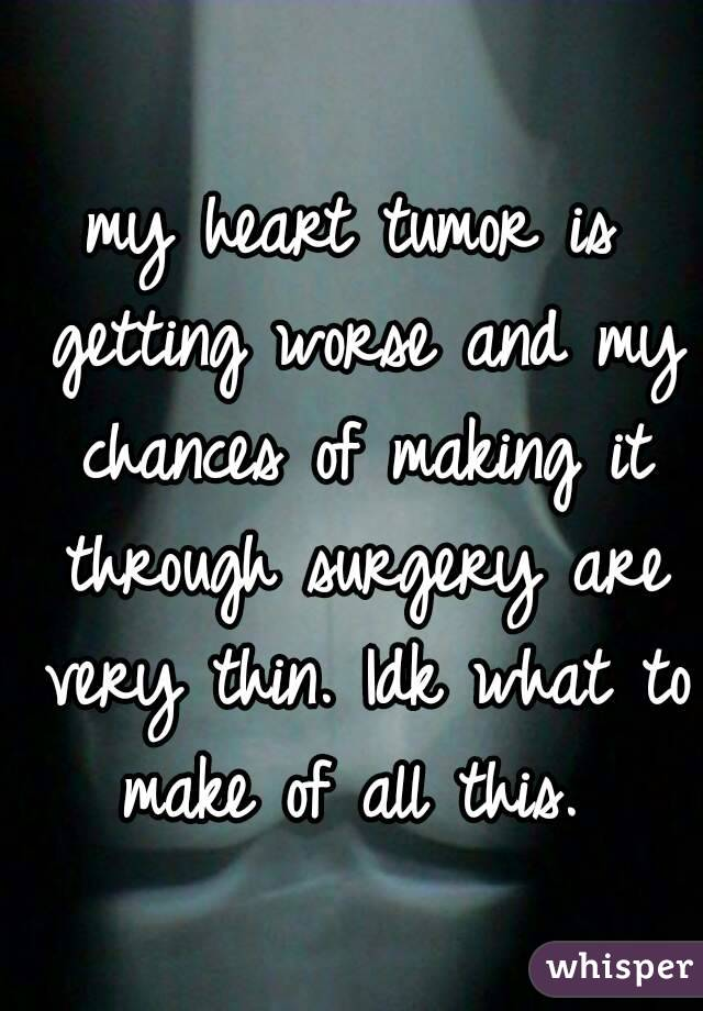 my heart tumor is getting worse and my chances of making it through surgery are very thin. Idk what to make of all this.