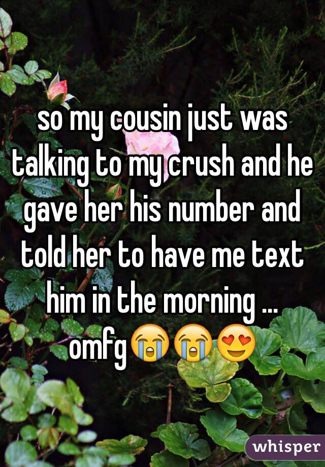 so my cousin just was talking to my crush and he gave her his number and told her to have me text him in the morning ... omfg😭😭😍