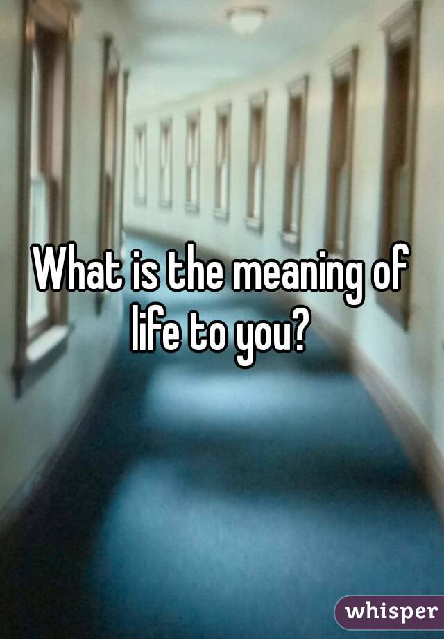 What is the meaning of life to you?