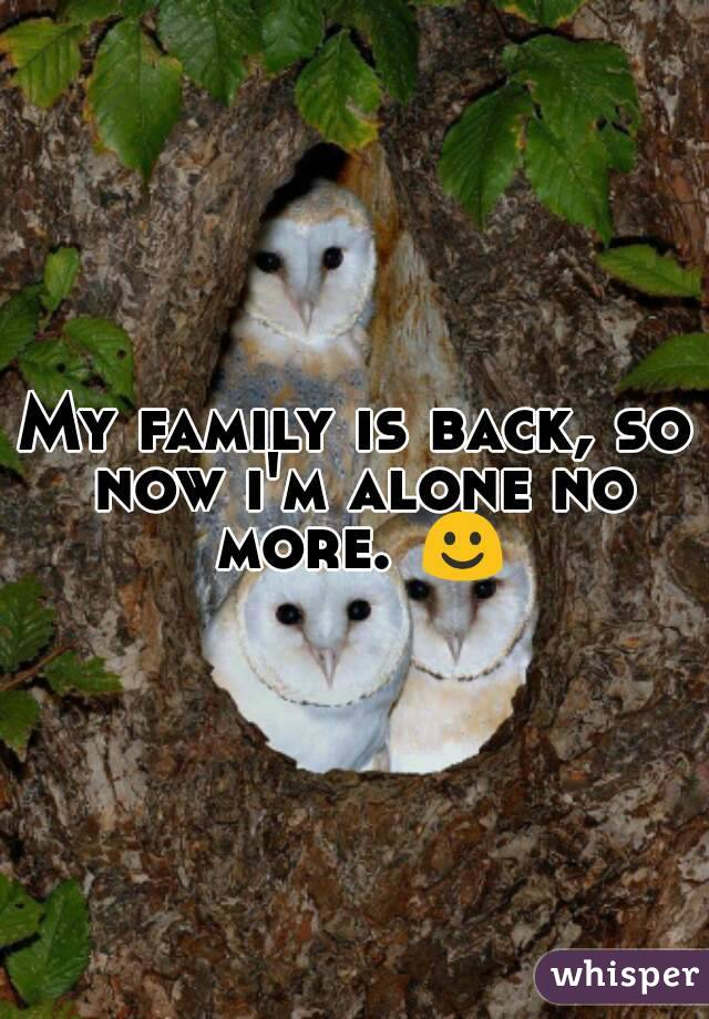 My family is back, so now i'm alone no more. ☺