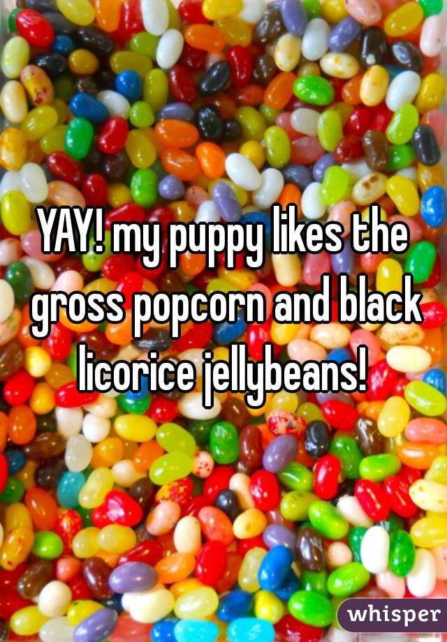 YAY! my puppy likes the gross popcorn and black licorice jellybeans!