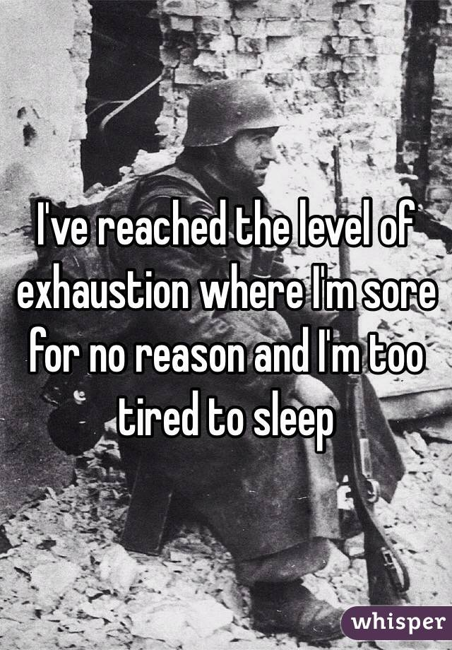 I've reached the level of exhaustion where I'm sore for no reason and I'm too tired to sleep