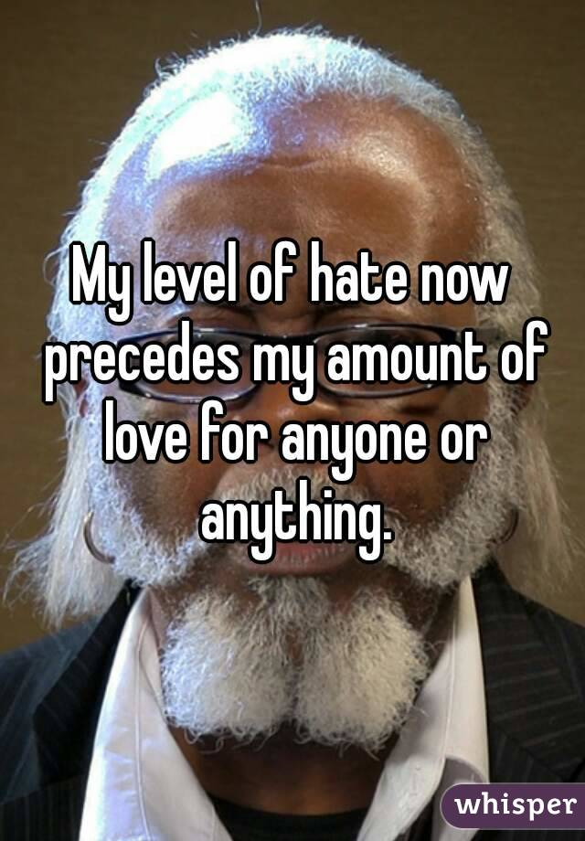 My level of hate now precedes my amount of love for anyone or anything.