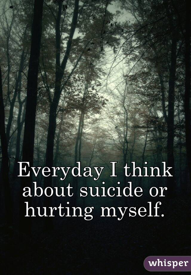 Everyday I think about suicide or hurting myself.