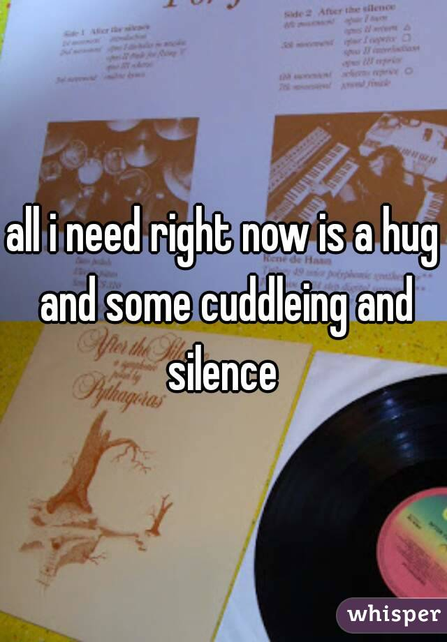 all i need right now is a hug and some cuddleing and silence