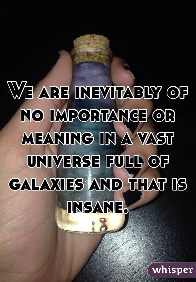 We are inevitably of no importance or meaning in a vast universe full of galaxies and that is insane.
