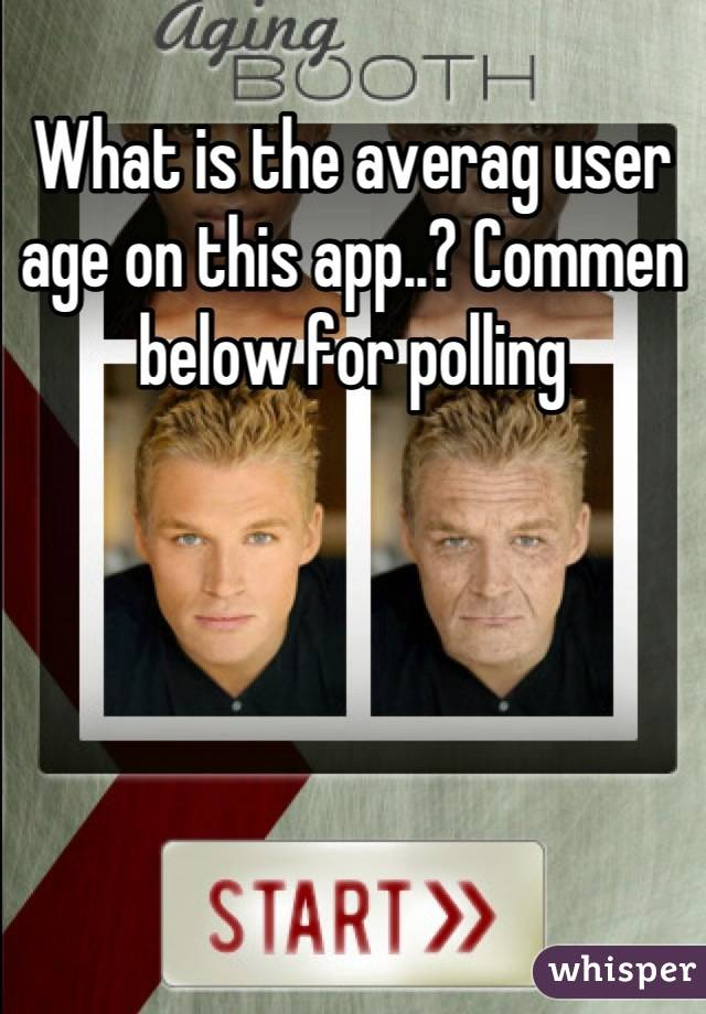What is the averag user age on this app..? Commen below for polling