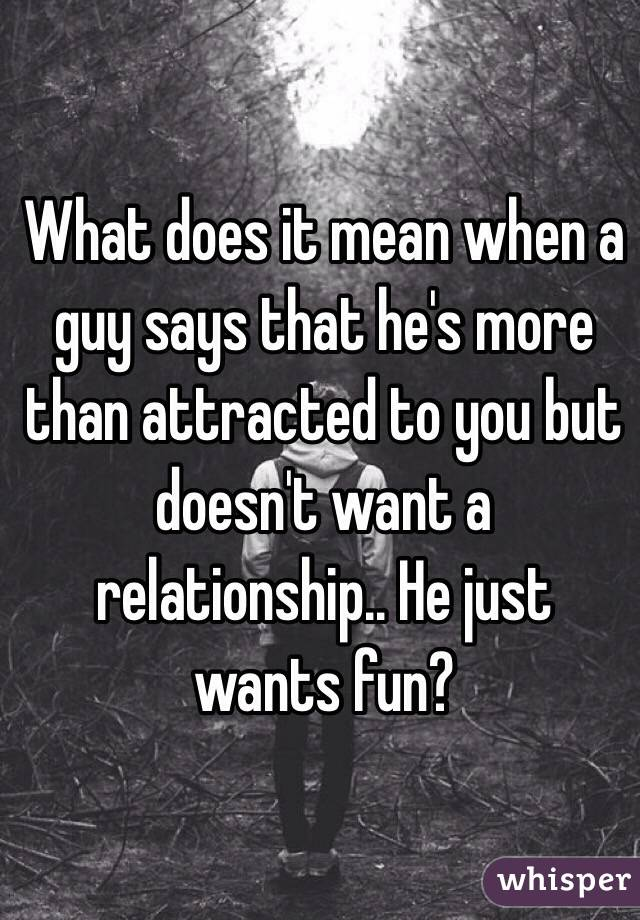 What does it mean when a guy says that he's more than attracted to you but doesn't want a relationship.. He just wants fun?