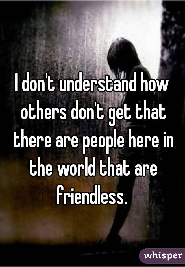 I don't understand how others don't get that there are people here in the world that are friendless.