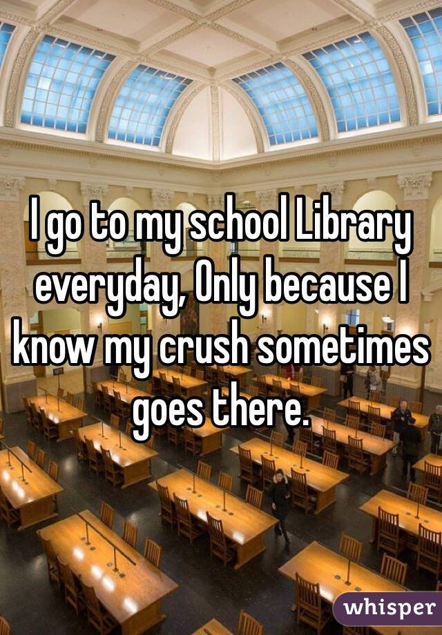 I go to my school Library everyday, Only because I know my crush sometimes goes there.