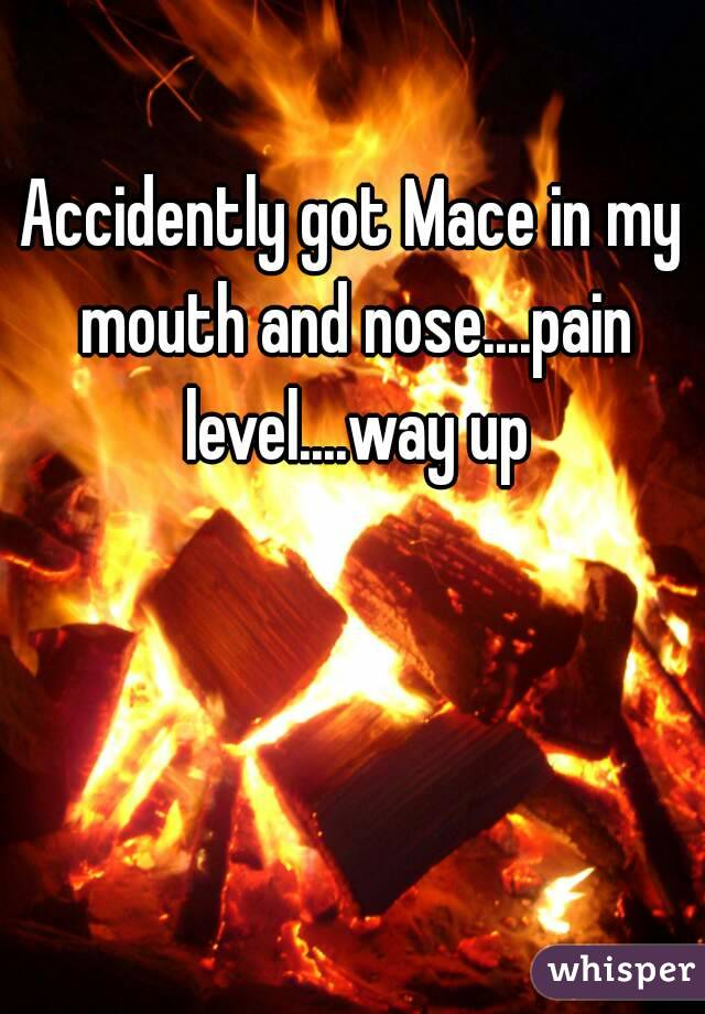 Accidently got Mace in my mouth and nose....pain level....way up