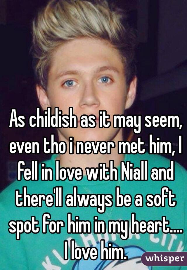 As childish as it may seem, even tho i never met him, I fell in love with Niall and there'll always be a soft spot for him in my heart.... I love him.