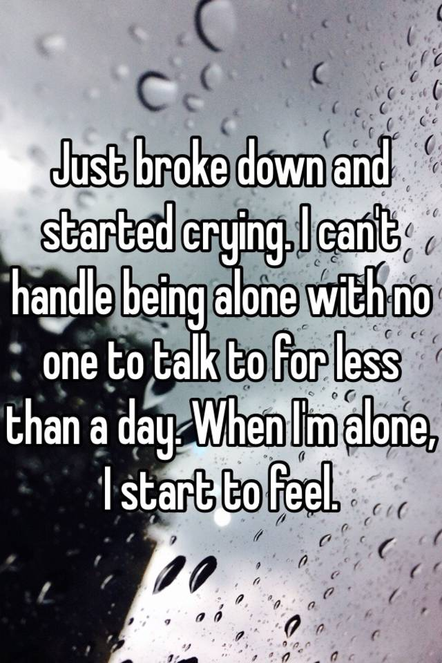 Just broke down and started crying. I can't handle being alone ...
