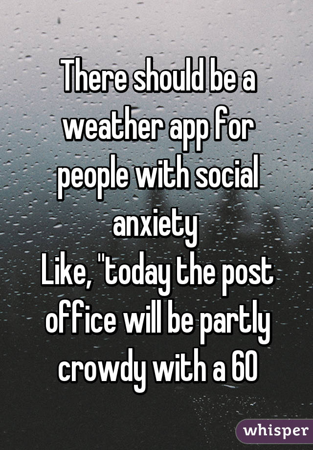 There should be a weather app for people with social anxiety like there should be a weather app for people with social anxiety like today the post office will solutioingenieria Gallery