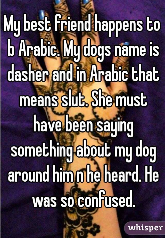 My best friend happens to b Arabic  My dogs name is dasher