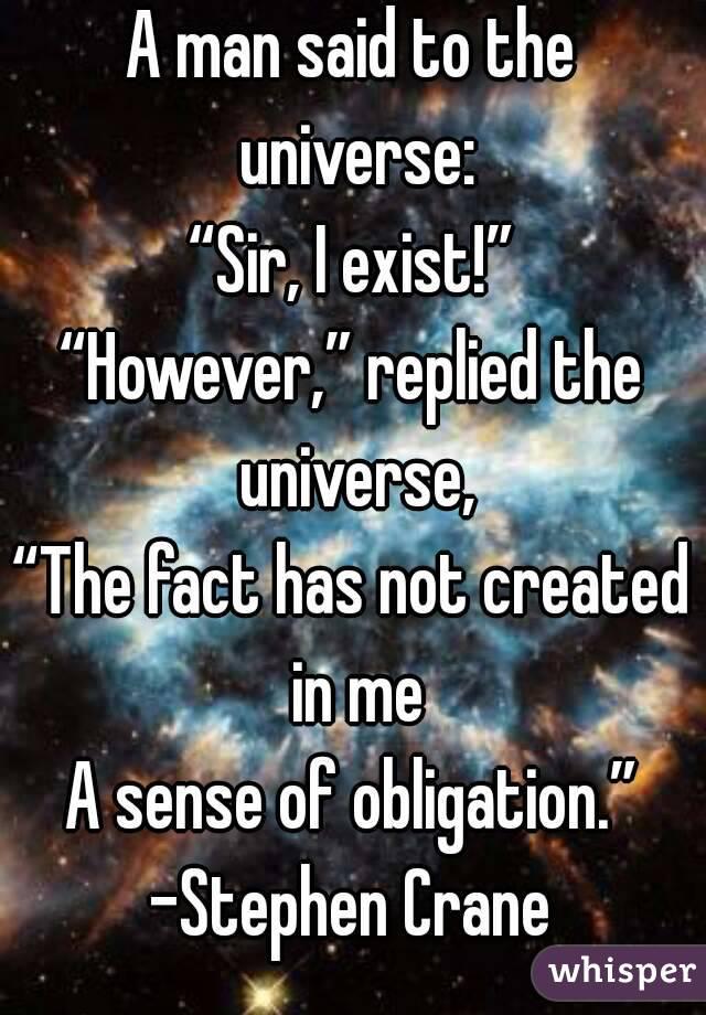 stephen crane a man said to the universe