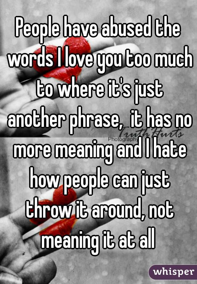No More I Love Yous Meaning