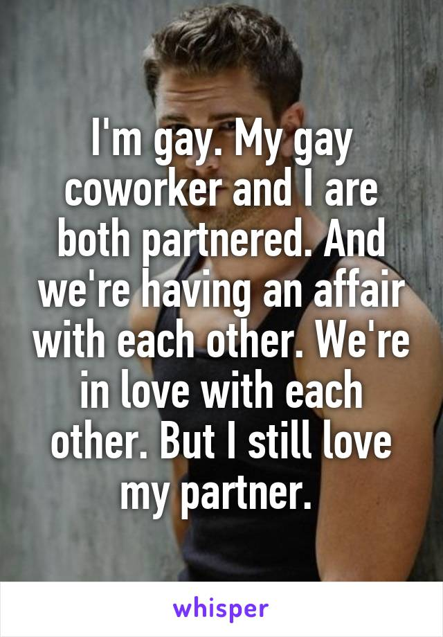 I'm gay. My gay coworker and I are both partnered. And we're having an affair with each other. We're in love with each other. But I still love my partner.