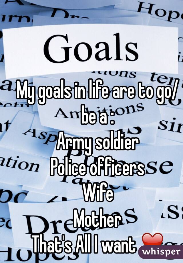 My goals in life are to go/be a : Army soldier Police officers Wife Mother   That's All I want ❤️