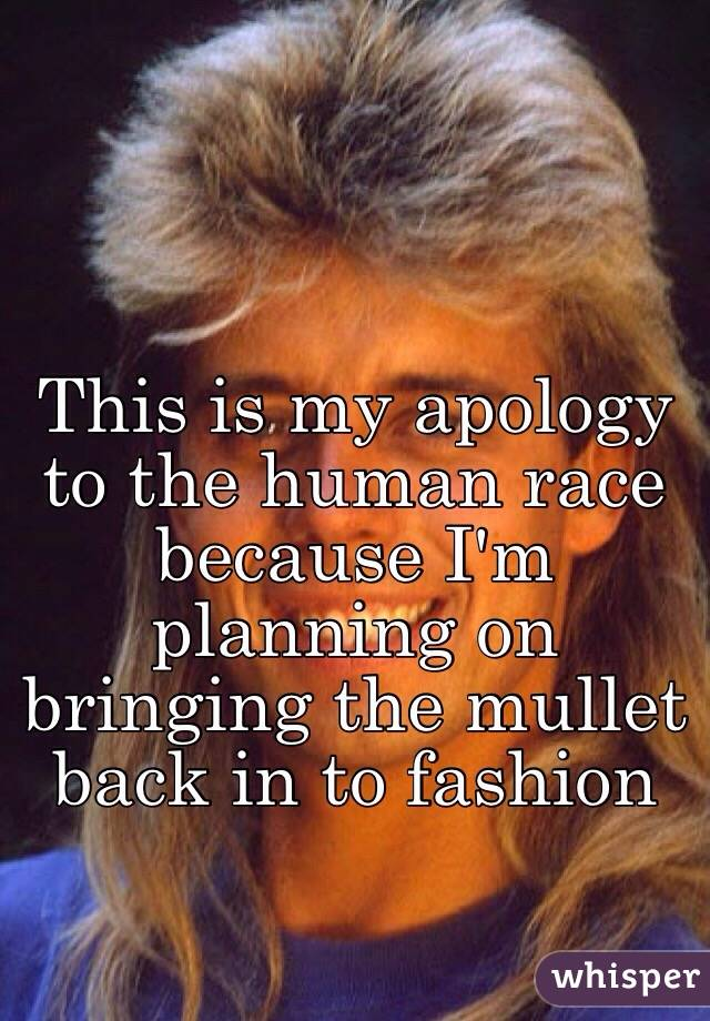 This is my apology to the human race because I'm planning on bringing the mullet back in to fashion