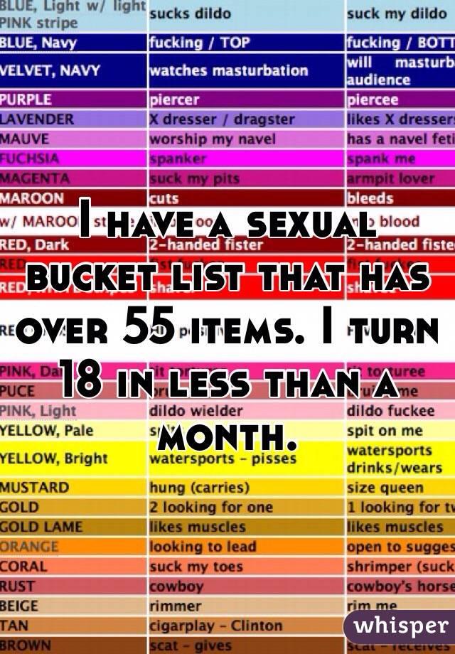 Sexual Bucket List Items