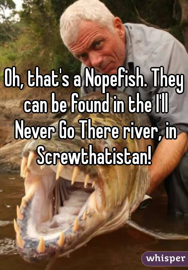 Oh, that's a Nopefish. They can be found in the I'll Never Go There river, in Screwthatistan!