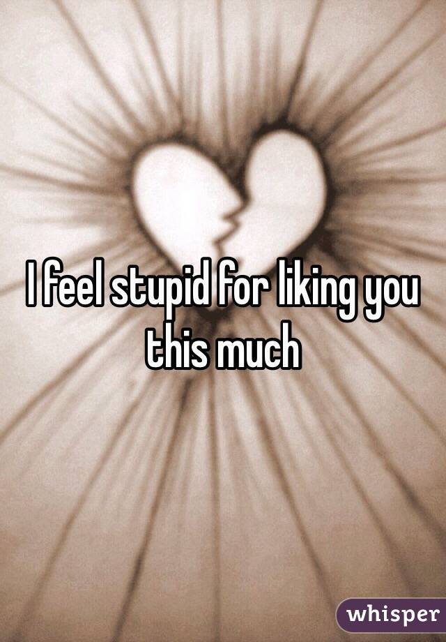 I feel stupid for liking you this much